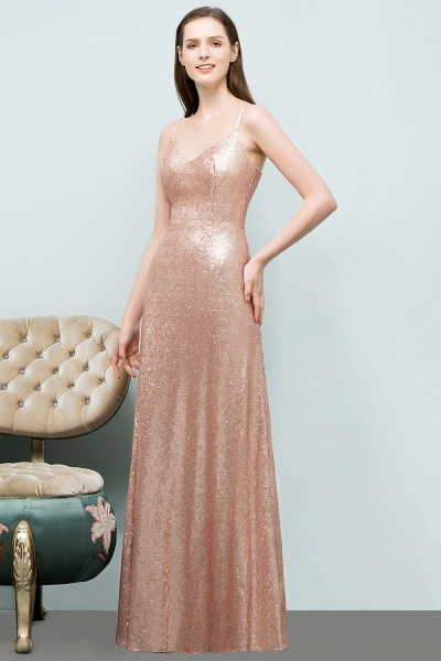 A-line Sequined V-Neck Spaghetti-Straps Sleeveless Floor-Length Bridesmaid Dress_1