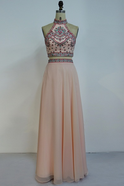 JAZLYN | A-line Two-piece Floor Length Halter Chiffon Appliques Prom Dresses_1