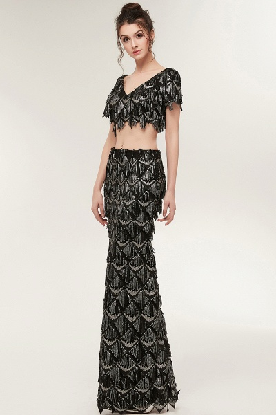 Modest V-neck Sequined Mermaid Evening Dress_6