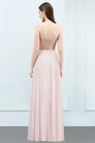 A-line Chiffon Sequined Spaghetti Straps Sleeveless Floor-Length Bridesmaid Dress_2
