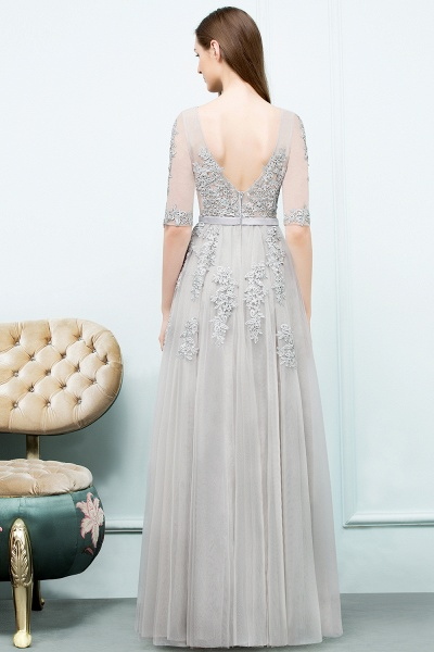 Glorious V-neck Tulle A-line Evening Dress_10