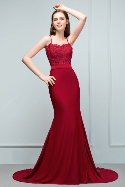 Mermaid Charmeuse Lace Spaghetti-Straps Sweetheart Sleeveless Floor-Length Bridesmaid Dresses with Beads_4