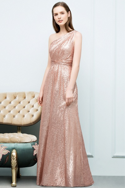 Awesome One Shoulder Sequined A-line Evening Dress_2