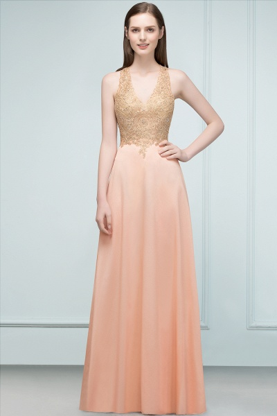 Excellent V-neck Chiffon A-line Evening Dress_3