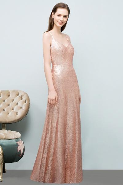 A-line Sequined V-Neck Spaghetti-Straps Sleeveless Floor-Length Bridesmaid Dress_3