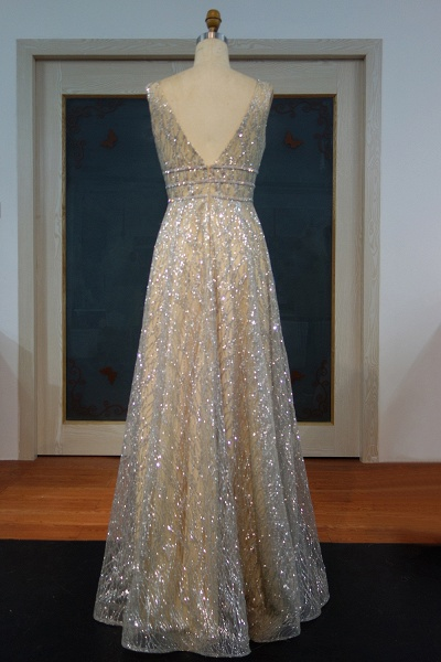 JAYLA | A-line Sleeveless Floor Length Silver Sequined Patterns Prom Dresses_3