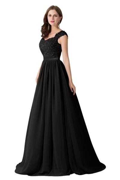 A-line V Neck Appliques Chiffon Bridesmaid Dress_7