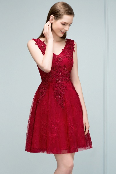 Best V-neck Tulle A-line Evening Dress_5