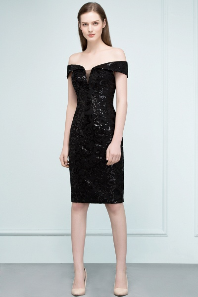 Attractive Off-the-shoulder Sequined Column Evening Dress_10