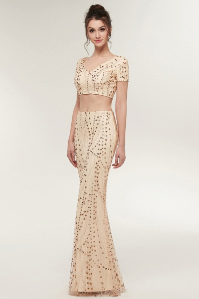ZANDRA | Mermaid Two-piece V-neck Floor Length Short Sleeves Champagne Prom Dresses with Sequins_7