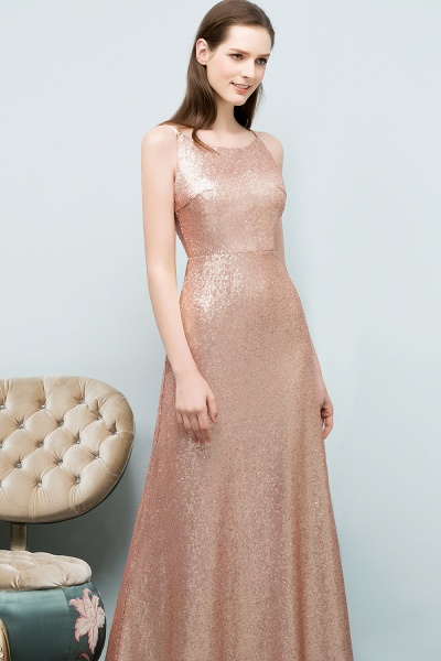 Wonderful Spaghetti Straps Sequined A-line Evening Dress_5
