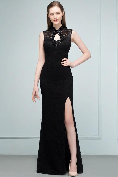 Modest High Neck Lace Mermaid Evening Dress_9