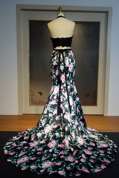 JAYLIN | Mermaid Two-piece Halter Long Lace Top Print Flowers Prom Dresses_3