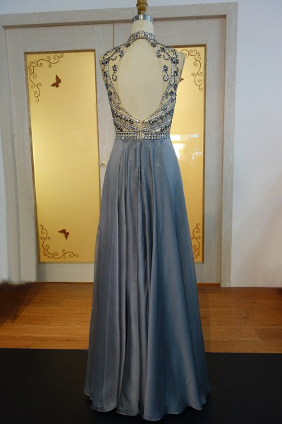 JESSICA   A-line Halter Floor Length Crystal Beading Chiffon Prom Dresses_3