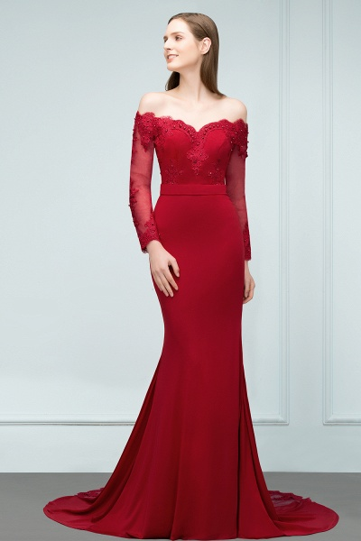 Attractive Off-the-shoulder Satin Mermaid Evening Dress_1