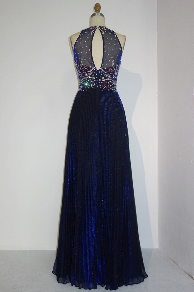 JENNA | A-line Crew Sleeveless Floor Length Sequined Crystal Beading Prom Dresses_3