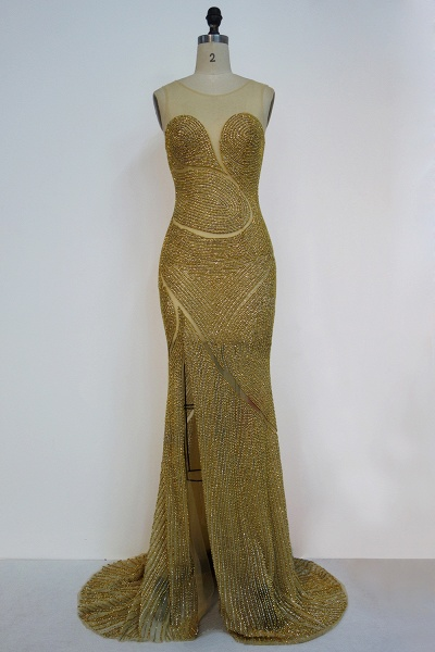 JAYLAH | Mermaid Illusion Neckline Long Sleeveless Golden Sequined Prom Dresses_1