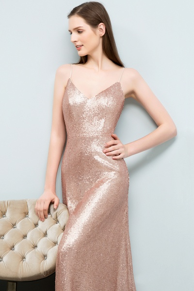 A-line Sequined V-Neck Spaghetti-Straps Sleeveless Floor-Length Bridesmaid Dress_4