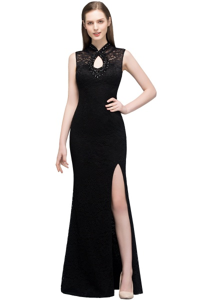 Modest High Neck Lace Mermaid Evening Dress_1