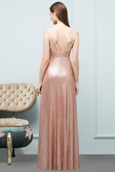 Wonderful Spaghetti Straps Sequined A-line Evening Dress_3