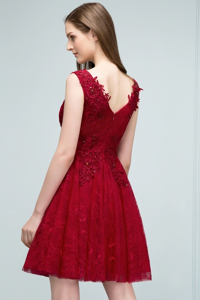 Best V-neck Tulle A-line Evening Dress_8