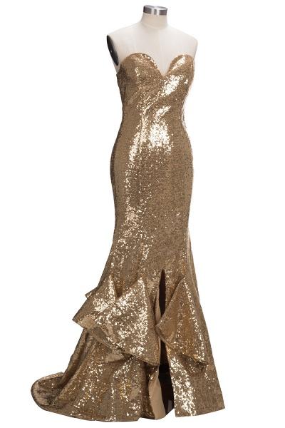 VESTA | Mermaid Sweetheart Strapless Long Split Sequins Prom Dresses_5
