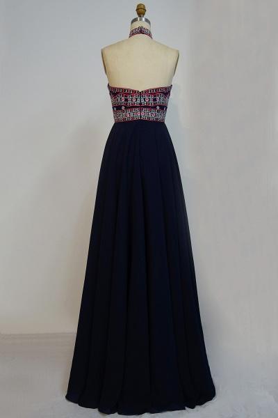 JAYLENE   A-line Halter Floor Length Embroidered Flowers Black Prom Dresses_3