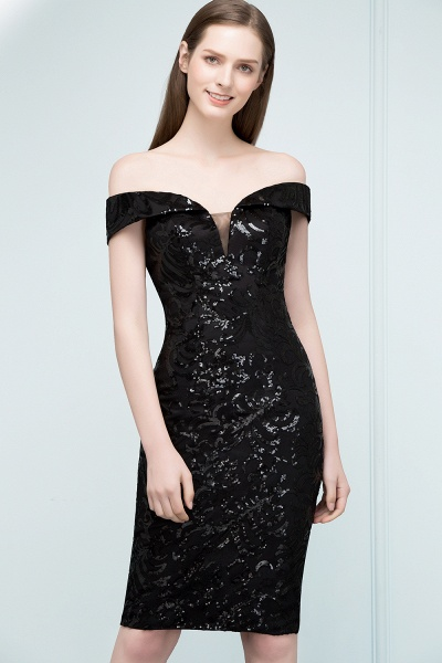 Attractive Off-the-shoulder Sequined Column Evening Dress_1