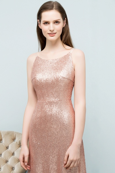 Wonderful Spaghetti Straps Sequined A-line Evening Dress_7