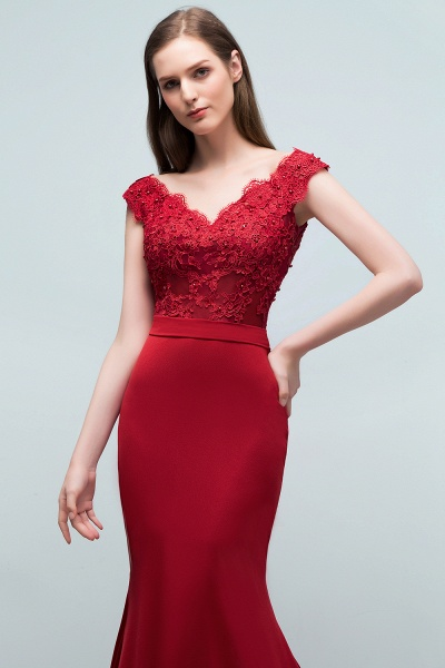 Affordable V-neck Stretch Satin Mermaid Evening Dress_4