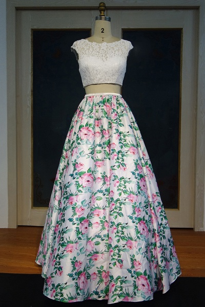 JAYLYNN   A-line Two-piece Cap Sleeves Lace Top Printed Flowers Prom Dresses_1