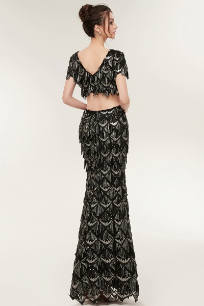 Modest V-neck Sequined Mermaid Evening Dress_7