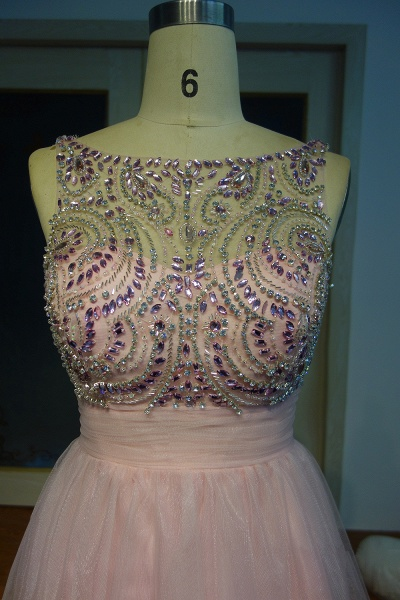 JAZMINE | A-line Short Scoop Sleeveless Pink Crystal Beading Prom Dresses_4