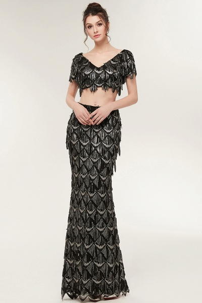 Modest V-neck Sequined Mermaid Evening Dress_4