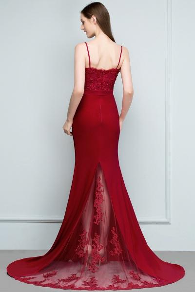 Mermaid Charmeuse Lace Spaghetti-Straps Sweetheart Sleeveless Floor-Length Bridesmaid Dresses with Beads_2