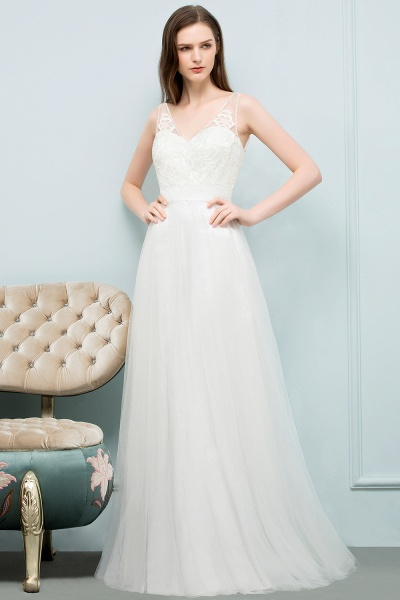 Fabulous V-neck Tulle A-line Evening Dress_12