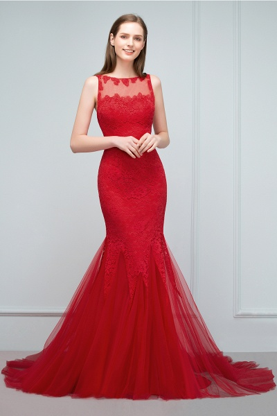 Chic Jewel Tulle Mermaid Evening Dress_10