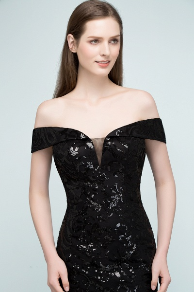 Attractive Off-the-shoulder Sequined Column Evening Dress_9