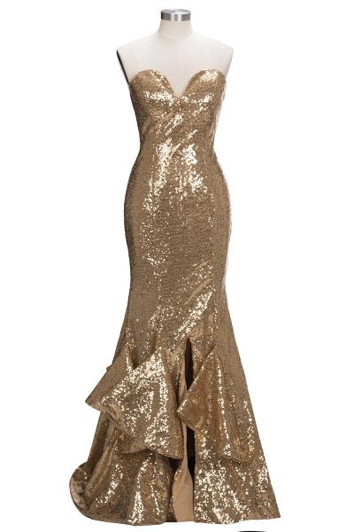 VESTA | Mermaid Sweetheart Strapless Long Split Sequins Prom Dresses_1