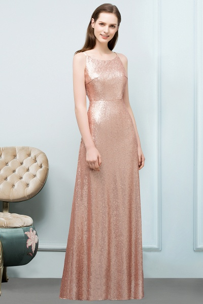 Wonderful Spaghetti Straps Sequined A-line Evening Dress_2