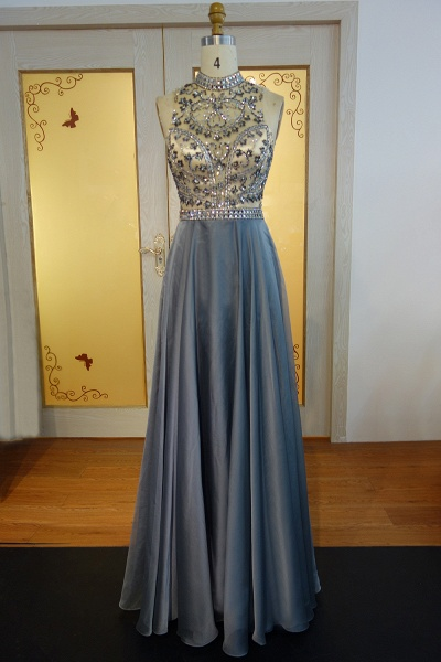 JESSICA   A-line Halter Floor Length Crystal Beading Chiffon Prom Dresses_1