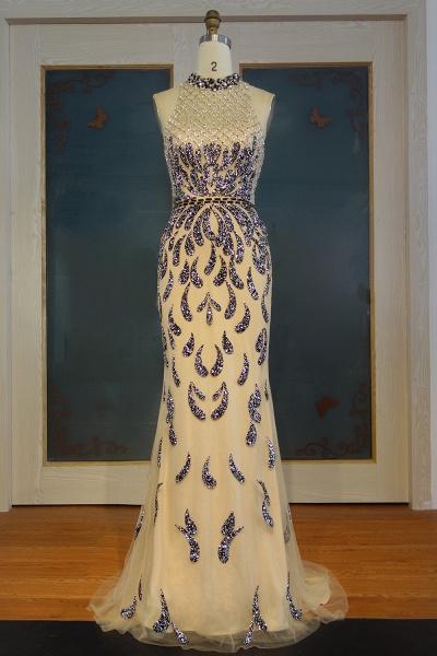 JIMENA | Mermaid Halter Floor Length Sequined Patterns Prom Dresses_1
