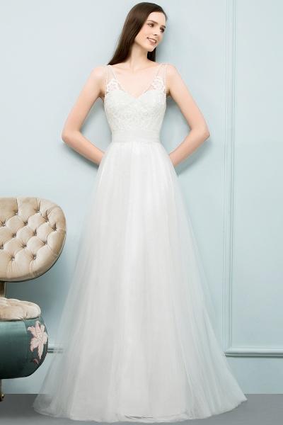 Fabulous V-neck Tulle A-line Evening Dress_11