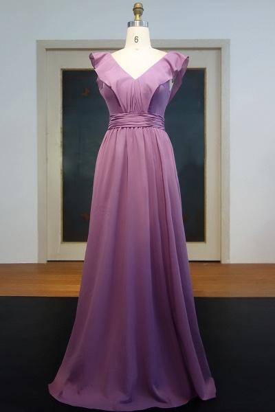 JOANNA | A-line V-neck Sleeveless Floor Length Ruffled Chiffon Prom Dresses_1