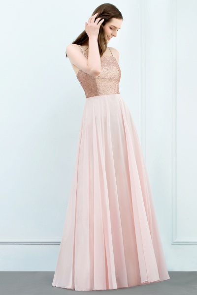 A-line Chiffon Sequined Spaghetti Straps Sleeveless Floor-Length Bridesmaid Dress_3