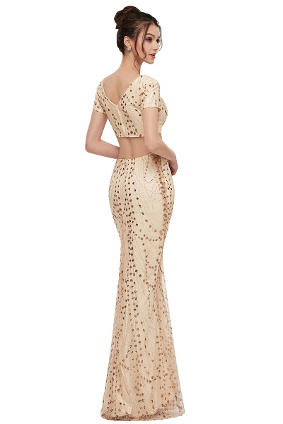 ZANDRA | Mermaid Two-piece V-neck Floor Length Short Sleeves Champagne Prom Dresses with Sequins_3