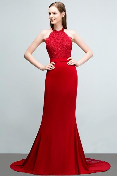 Sleek Halter Stretch Satin Mermaid Evening Dress_1