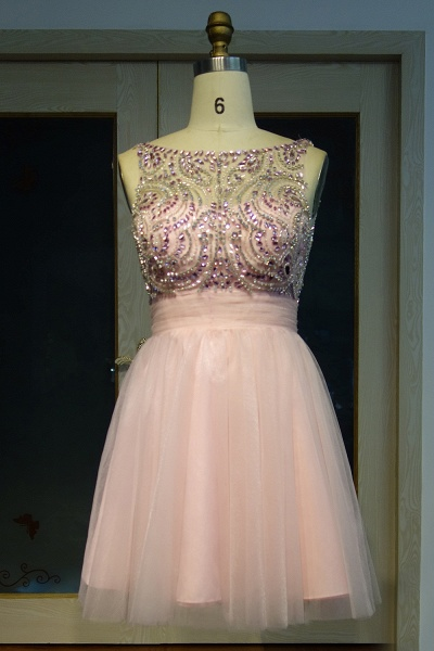 JAZMINE | A-line Short Scoop Sleeveless Pink Crystal Beading Prom Dresses_1