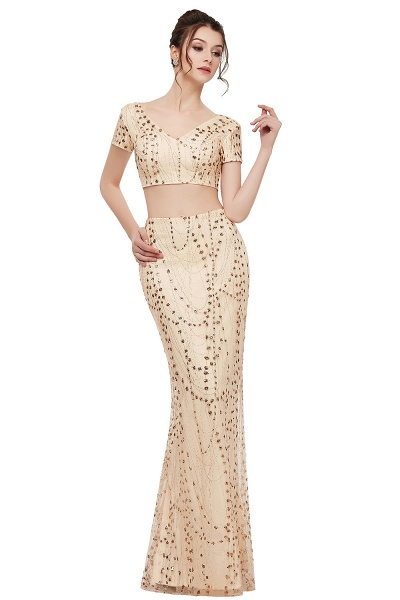 ZANDRA | Mermaid Two-piece V-neck Floor Length Short Sleeves Champagne Prom Dresses with Sequins_1