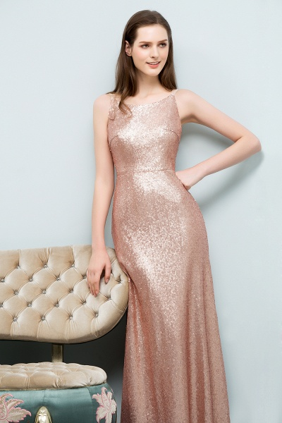 Wonderful Spaghetti Straps Sequined A-line Evening Dress_6
